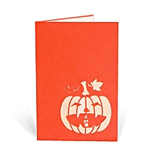 3D Angry Pumpkin Pop Up Card Birthday Greeting DIY Papercraft orange