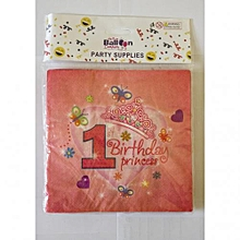 1st birthday serviettes-20 pieces-Pink