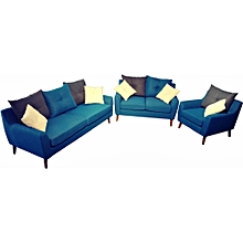 Special Offer! 3+2+1 Blue Fabric Sofa Set with Blue, Grey and White Cushions