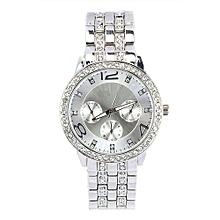 Lady Exquisite Luxury Crystal Quartz Rhinestone Crystal Wrist Watch -Silver