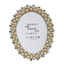 Pearls & Diamonte Photo Frame - Silver & Creme