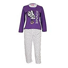 Purple Girl's Pajamas With Minnie Mouse