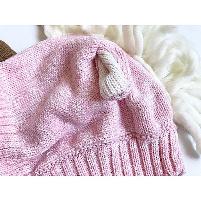 89302840f78 Baby Toddler Kids Boy Girl Knitted Crochet Beanie Winter Warm Hat Cap- Pink