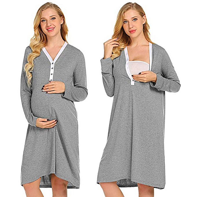 d7afd4928e7 Maternity Nursing Robe Delivery Nightgowns Hospital Breastfeeding Gown Dress