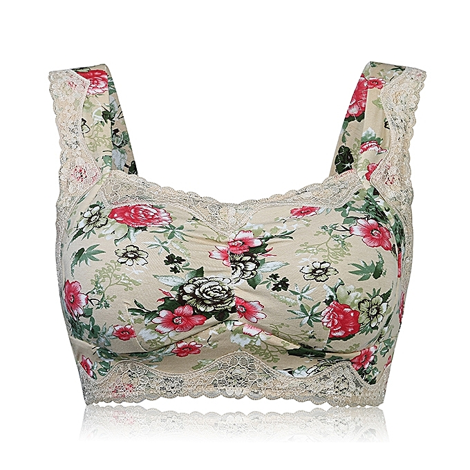 7fffb8fa7d Women Plus Size Comfy Floral Printing Lace Wireless Bra Breathable No Rim Vest  Bras