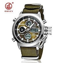 OHSEN Brand Men Fashion Wristwatches Luxury Famous Brand Men's Leather Strap Watch Sports Watches Casual High Quality Waterproof