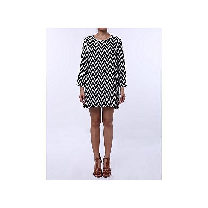 b72983fcb426 Fashion Round Neck Long Sleeve Printed Loose-Fitting Dress - White+ ...