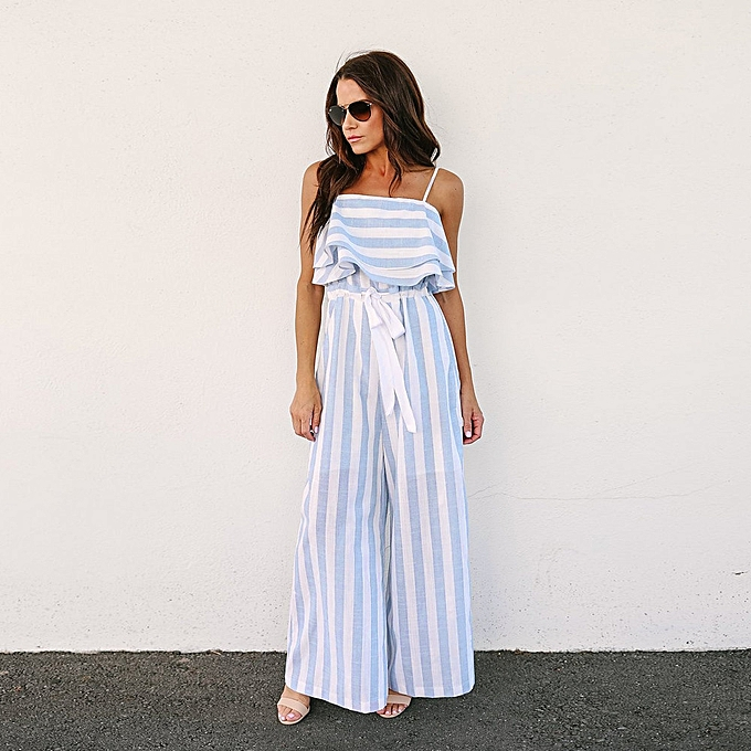 573b673202 jiuhap store Women Sleeveless Striped Jumpsuit Casual Clubwear Wide Leg Pants  Outfit -Blue