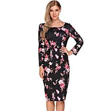 Women's Vintage Style Long Sleeve Bow Draped Floral Print Party Midi Pencil Dress ( Black )