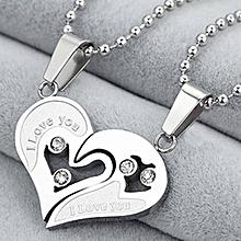 Grace 2Pcs Men Women Lover Couple Necklace I Love You Heart Shape Pendant Chain Jewel White