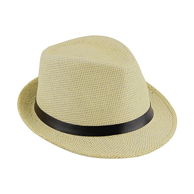 3cd0aaa5e5baa Stylish Hat Summer Straw Hat Cap Topee Fedora Trilby Panama Hat Cap Jazz Hat -Beige