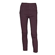 Girls Purple Slim-Fit Stretch Twill Full Length Jeggings
