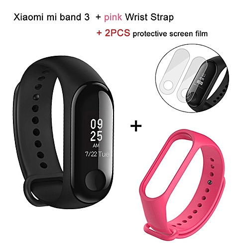 Mi band 3 OLED Heart Rate Monitor Bluetooth 4.2 Smart Bracelet+ Deep Pink replacement band and 2 free screen protector