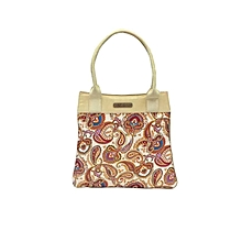 Raw Silk Handbag with Paisley Print - Gold