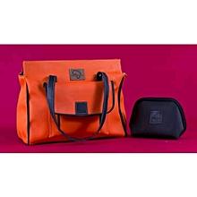 2 in 1 Ladies Faux Leather Orange Shoulder Bag + Black Pouch