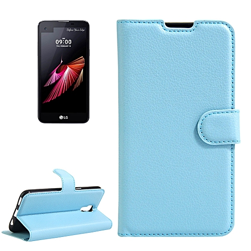 buy online 2cd95 2c1fc For LG X Screen Litchi Texture Horizontal Flip Leather Case with Holder and  Card Slots and Wallet(Blue)