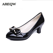 bb0f9246dfc AREQW 2017 spring new Bow tie and middle heel leather shoes woman round  head and large
