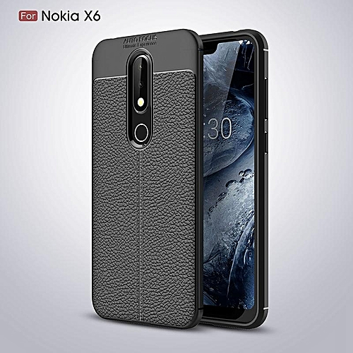 best service c94b2 1f046 For Nokia 6.1 Plus Case Leather Litchi Pattern TPU Ultra Slim Back Cover  Soft Funda Coque Soft TPU Case For Nokia X6 Phone case