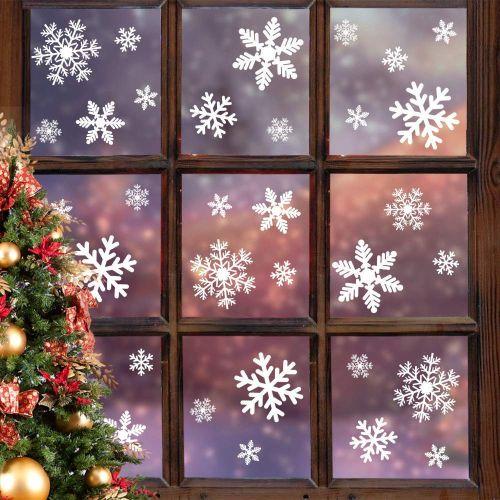 Christmas Window Decals.5 Sheet Christmas Window Clings Snowflakes Window Decals Static Window Stickers
