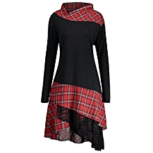 Lace Plaid Panel Plus Size Long Top - BLACK AND RED
