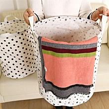Waterproof Canvas Laundry Clothes Basket Storage Basket Folding Storage Box  B-White