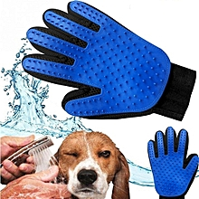 Pet Grooming,Hair Removal & Massaging Glove - Blue & Black