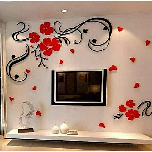 3afca26bc7f Generic 3D DIY Removable Flower Acrylic Decal Wallpaper Wall Sticker for  Decor - Colormix
