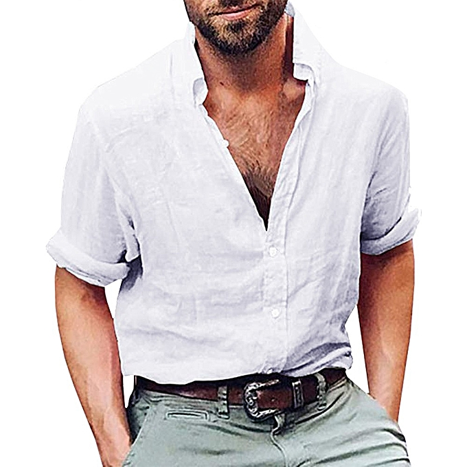 dd3e4d73 jiuhap store Mens Long Sleeve Henley Shirt Cotton Linen Beach Yoga Loose  Fit Tops Blouse-