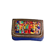 Clutch with Quilted Satin Flap - Blue