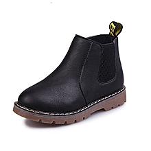 Baby unisex pure zipper leather PU mid-shoe Black