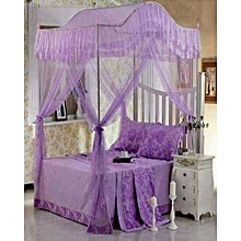 Mosquito Net 4x6 with Metallic Stand (Curved) -purple