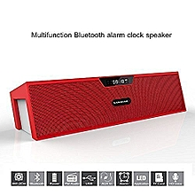 Sardine SDY-019 Portable Wireless Bluetooth Stereo Speaker with 2 X 5W Speaker Enhanced Bass Resonator, FM Radio, Built-in Mic, LED Display, Alarm clock, 3.5 mm Audio Jack, support TF card/Micro SD card and USB input(Red and White) JY-M