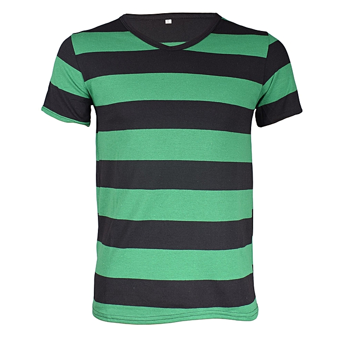 de53733d14 Fashion Black/Green Stripped V-neck T-shirt @ Best Price | Jumia Kenya