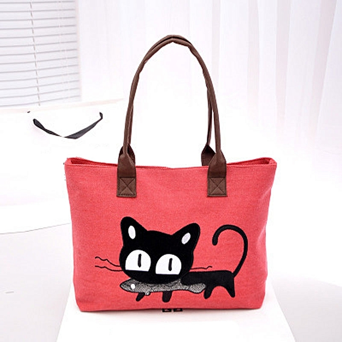 ba8069b07f1 jiuhap store New Women Shoulder Bag Canvas Bag Cute Cat Bag Office Lunch Bag  Red-