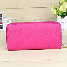 Africanmall store Fashion Women Leather Zipper Wallet Clutch Card Holder Purse Lady Long Handbag- Hot Pink