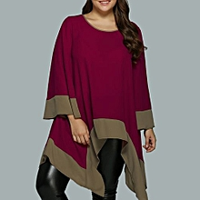 Women Flare Asymmetrical Blouse - Red
