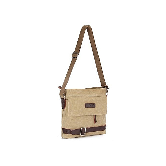 8b82a2b1a9 Men s Vintage Canvas Messenger Shoulder Satchel Laptop Crossbody School Bag  Zip Khaki