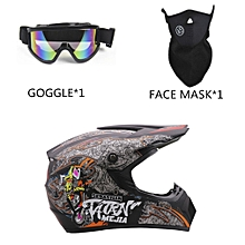 3PCS/SET Breathable Motorcycle Helmet Full Face Racing  L
