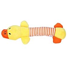 Striped Duck Design Pet Puppy Dog Chew Squeaker Sound Toy-Yellow