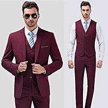 Men's Elegant Three-piece Suit Formal Suits Blazer Vest And Trousers - Wine Red
