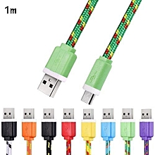 Micro USB Cable 1M Flat Braided High Speed Data Synchronization Charger Cord For Android Smart Phones