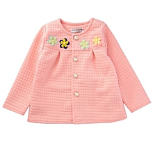 Girls Han Edition Cotton Flower Decorated Baby Twinset - Red - 100