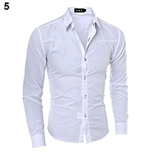 Fashion Men Argyle Luxury Business Style Slim Fit Long Sleeve Casual Dress Shirt-White