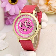 Leather Watch Women Dress Watches Men Luxury Brand Hollow Skeleton Watch(Red)