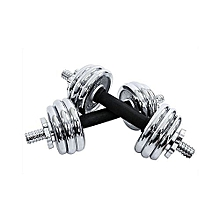 Silver 20kg Adjustable Chromed Cast Iron Dumbbell Weight Set