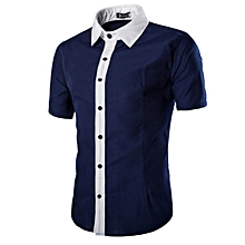 Men's Slim Fit Short Sleeve Shirt Navy Blue.