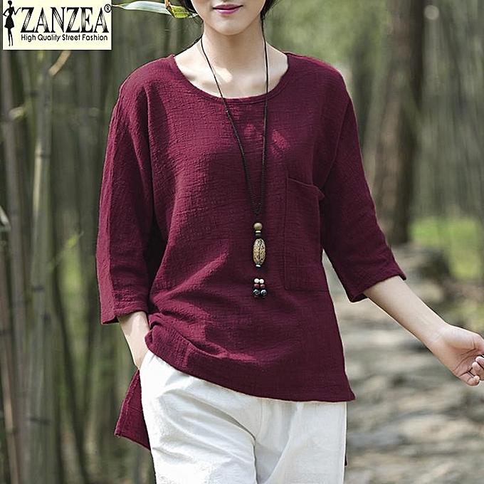 aaddd1816f965 ... Tops Blouse Plus Size (Purple) · ZANZEA Womens Summer O Neck 3 4 Sleeve  Linen Loose Shirt Cotton Asymmetric Casual Solid