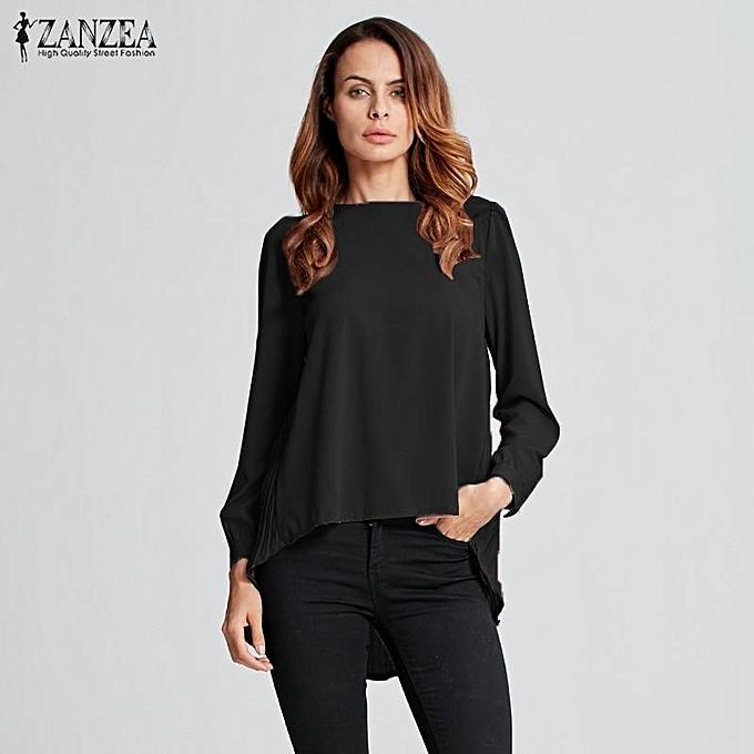 07ca60e87c1 ZANZEA Women Long Sleeve Casual Loose Tops Autumn Blouses Oversized Chiffon  Solid Shirts Plus Size Blusas