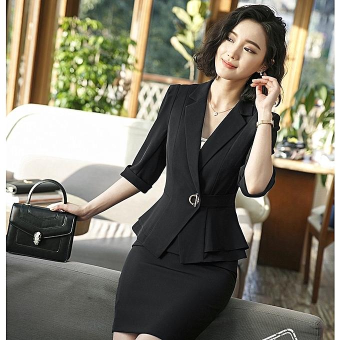 52e056ccbd35c Generic New Sleeve Professional Pants Formal Office Lady Tops-black ...