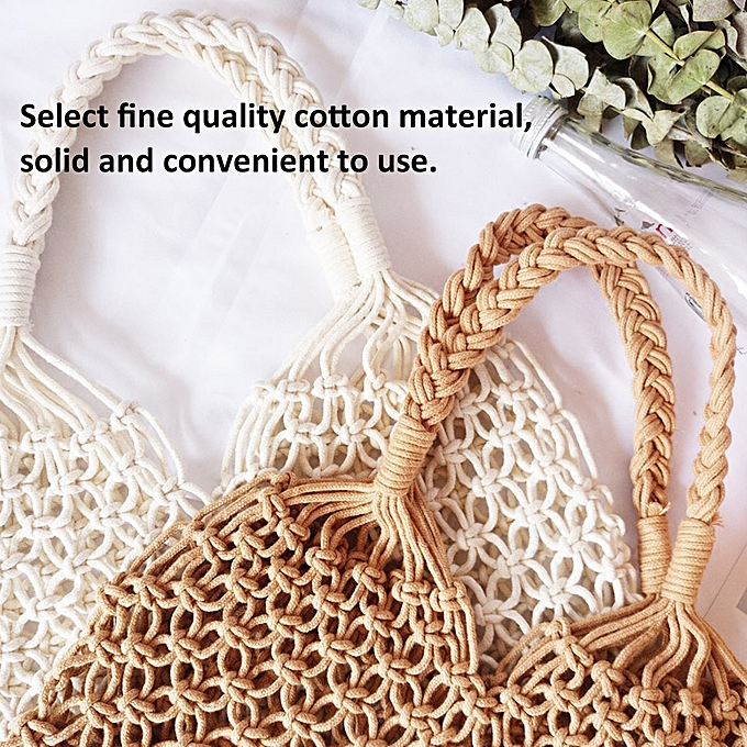 7943156fb49 ... Minimalist Artsy Vintage Mori Fashionable Hollow Out Weave Bag  Vacationing Beach Summer Cotton Handbags Beautiful and ...